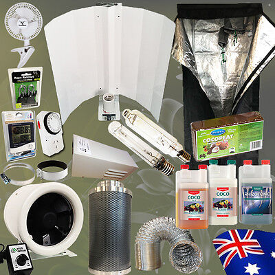 Hydroponic 400W HPS MH Wing Shade Grow Tent Fan Carbon Filter Nutrient Coco Peat