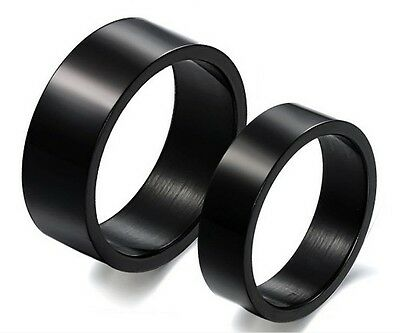 Free Engraving Black Titanium Steel Couples Ring Set Wedding Band Promise Rings