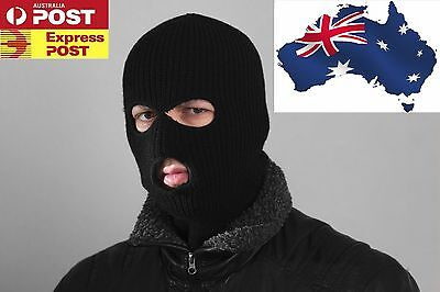 3 Holes Black Balaclava SAS Style Mask Neck Warmer Ski Hat Paintball Fishing AU
