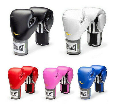 Everlast Style Combat Fighting Boxing Training Gloves Black Blue Red White Pink