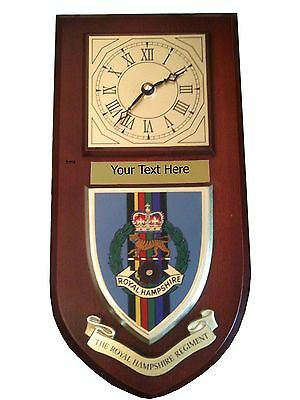 Hampshire Regiment Personalised Military Wall Clock Plaque UK Made for MOD
