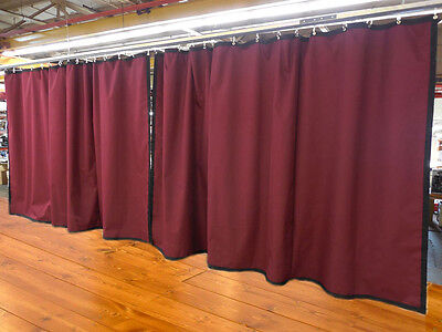 Lot of (2) Burgundy Curtain/Stage Backdrop, Non-FR, 8 H x 15 W