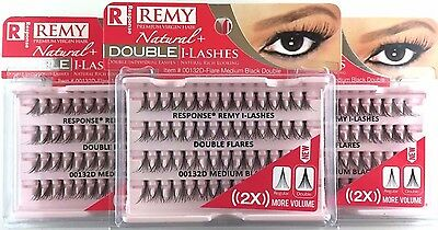 New Lot Of 3 Response 132D Remy Natural Double Lashes Double Flare Medium Black