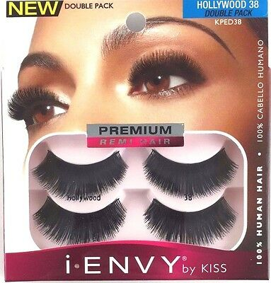 1a3d8006d54 NEW i-ENVY by KISS KPED38 HOLLYWOOD 38 DOUBLE PACK BLACK STRIP EYELASHES