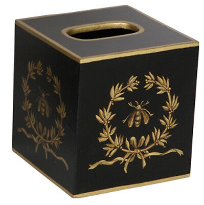 Tissue Box Cover Square Wood Bathroom Accessories Dispenser Holder Gold Bee