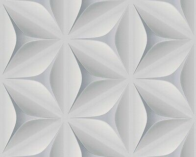 2,38£//1qm Non-Woven Wallpaper floral 3D graphic grey blue grey 96042-1