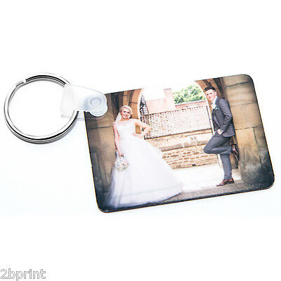 PERSONALISED YOUR PHOTO RECTANGLE METAL DOUBLE SIDED 57x41 KEYRING GIFTS