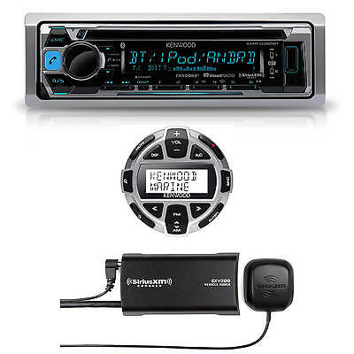 Kenwood Marine Boat CD MP3 Bluetooth Stereo + Digital Remote & SiriusXM Antenna