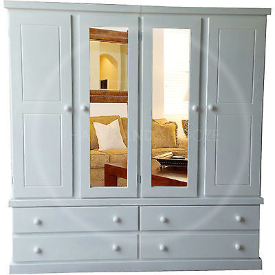 Hand Made Dewsbury Furniture Quad Wardrobe Mirrored Shelved White( Assembled)