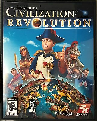 "Used Sid Meier Civilization w/Black Acrylic Frame Poster Artwork Print 22""x16.5"""