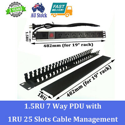 1.5RU 7 OUTLETS / WAY Aluminium Alloy PDU With 25 Slots Cable Management Combo