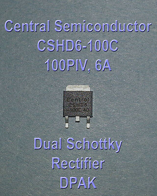 Central Semi CSHD6-100 100PRV 6A Dual Schottky Rectifiers - DPAK - NOS - Qty 30