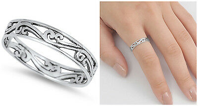 Sterling Silver 925 PRETTY FLORAL VINES DESIGN SILVER BAND RING 4MM SIZES 3-13