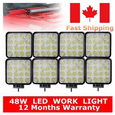 8 X 48W 12V 24V Flood Lamp Led Work Light Boat Fog Truck Offroad SUV UTE 4WD ATV