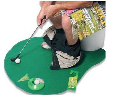 Toilet Bathroom Mini Golf Mat Potty Sitting Putter Putting Game Novelty Gift Toy