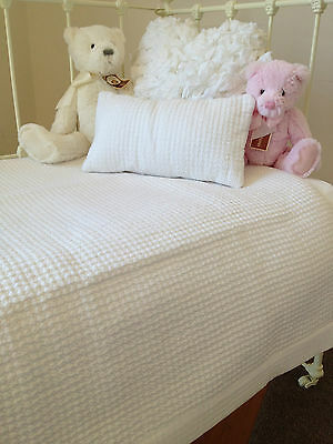 Baby Boy Girl White Cotton Waffle Quilted Cot Coverlet & Nursery cushion Angads
