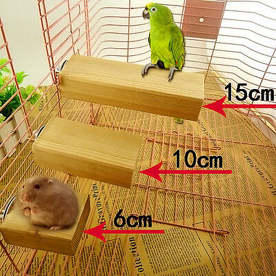 New Wood Hamster Parrot Cage Perch Stands Platform Pet Bird Toy Play Fun Ladder