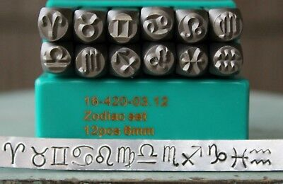 SupplyGuy 6mm 12 Zodiac Sign Metal Design Stamp Punch Set SGCH-Zodiac