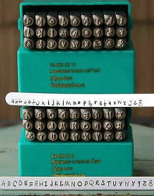 SUPPLY GUY 4mm Tootsie Roll Cashew Apple Ale Font Metal Stamp Letter Set