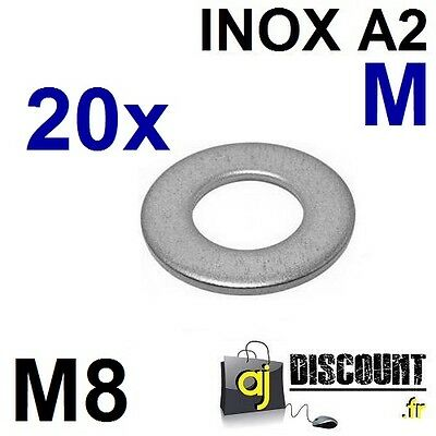 20x Rondelle plate - M8 - Moyenne M - INOX A2