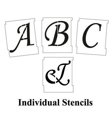 50mm 2'' ALPHABET STENCIL SET A-Z Monotype Corsiva  UPPER CASE WEDDING SCRIPT