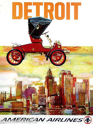 Detroit Michigan by Air Auto Industry United States Travel Advertisement Poster