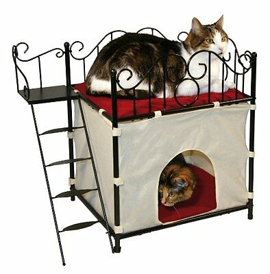 Metal Frame Cat House Bedroom Home Kitty Cat Bed pet toy furniture Home Fun Play