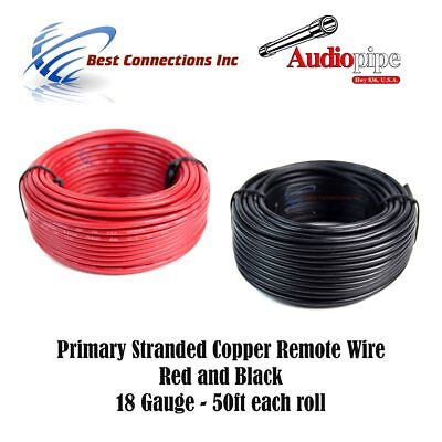 18 Gauge Wire Red & Black Power Ground 50 Ft Each Primary Stranded Copper Clad
