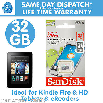 32GB Sandisk MicroSD SDHC TF Memory Card for Kindle Fire HD - eReader - Tablet