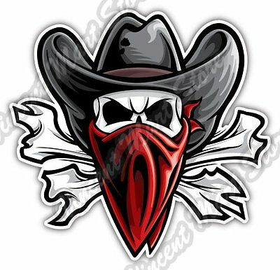 "Outlaw Skull Texas Western Cowboy Bandit Car Bumper Vinyl Sticker Decal 4""X5"""