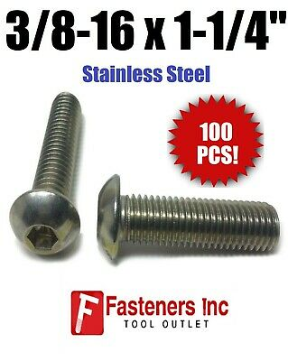 "(Qty 100) 3/8-16 x 1 1/4"" Button Head Socket Cap Screw Stainless Steel Screws"