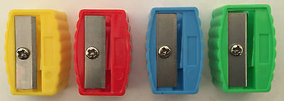 PACK OF 15 PLASTIC SINGLE HOLE PENCIL SHARPENER FOR SCHOOL AND OFFICE 8mm PENCIL