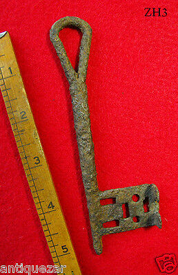 Extremely Rare Large 11th-12th C. Viking Norman Iron Ancient Skeleton Key Intact