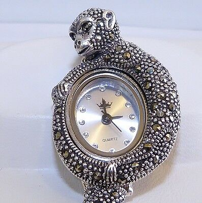 VINTAGE STYLE!! Champagne Marcasite Monkey Bracelet Watch in Solid S/Silver 925!