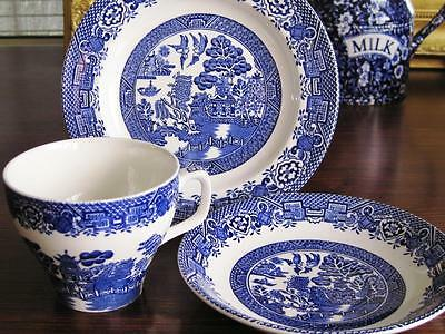 Vintage Wood & Sons England Willow pattern trio.