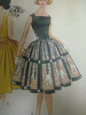 Vintage 60's McCalls SQUARE NECK FITTED BODICE DRESS Sewing Pattern Women UNCUT