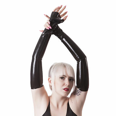 Rubberfashion sehr lange fingerlose Latex Handschuhe extra dick Latexhandschuhe