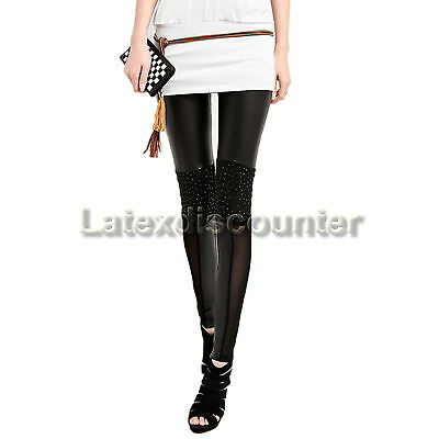 Strech Glanz Wetlook Leggings Leggins Legings Legins SCHWARZ mit Strass Knie