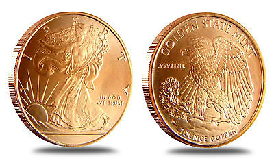 5 Coins • Walking Liberty Half Dollar • 1 oz each .999 Copper Bullion 10-20-100