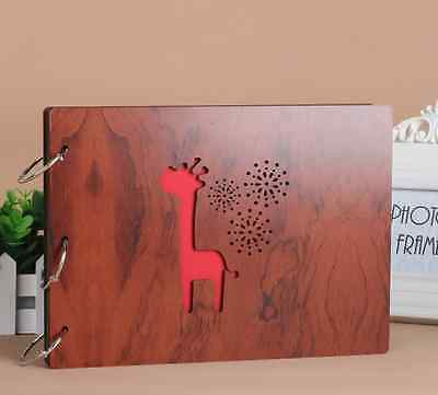 DIY 30Pages 27.3 x 19.8cm Wood Cover 3 Rings Photo Album Scrapbook Giraffine