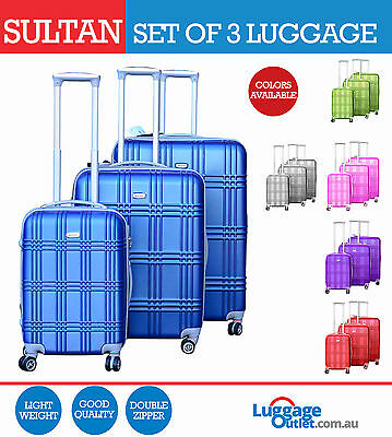 Sultan Hardcase Luggage Set of 3 Top Quality with color options