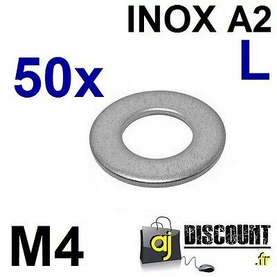 50x Rondelle plate - M4 - Large L - INOX A2