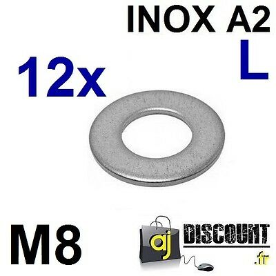 12x Rondelle plate - M8 - Large L - INOX A2