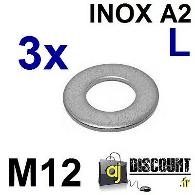 3x Rondelle plate - M12 - Large L - INOX A2