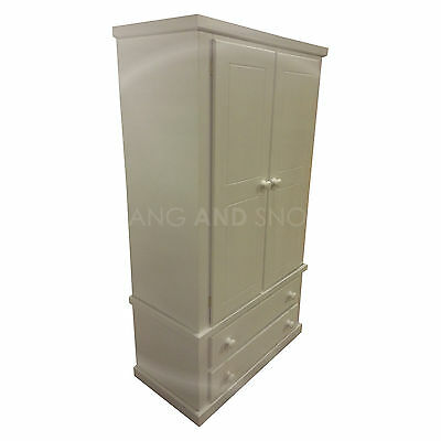 Hand Made Dewsbury Furniture Gents Wardrobe Shelved White (Assembled)