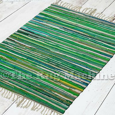 RIVER MIXED GREEN RECYCLED COTTON HANDWOVEN RUG MAT 60x90cm **NEW**