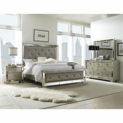 6-PIECE MIRRORED AND Upholstered Tufted King-size \