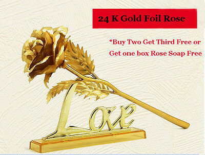 Luxury 24K Gold Foil Long Stem Rose With Love Holder In Gift Exquisite Package
