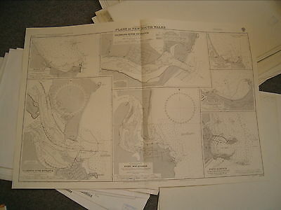 Vintage Admiralty Chart 1379 AUSTRALIA - PLANS IN NEW SOUTH WALES 1935 edn