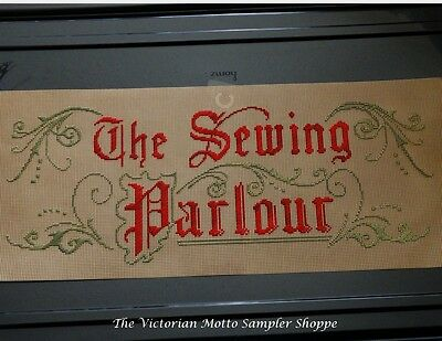 Victorian motto, antique style Perforated Paper motto kit The Sewing Parlour